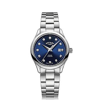 Rotary Oxford Quartz Silver Stainless Steel Blue Dial Ladies Watch LB05092/05/D
