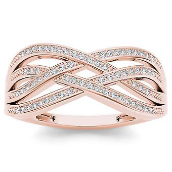 Igi certified 10k rose gold 0.07 ct diamond criss-cross fashion engagement ring