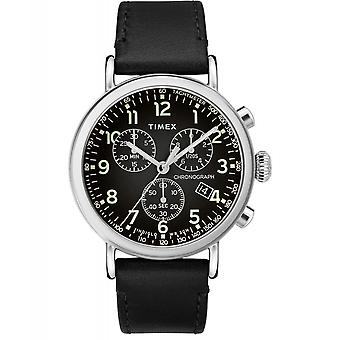 Timex TW2T21100 Standard Chronograph Leather Wristwatch Black