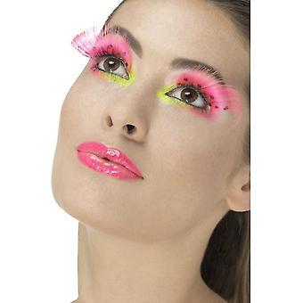 80's Polka Dot Eyelashes, Neon Pink, Contains Glue