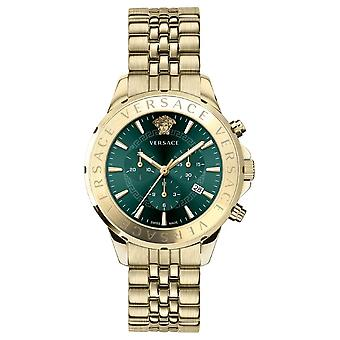 Versace Vev600619 Chrono Signature Men's Watch Gold 44 Mm
