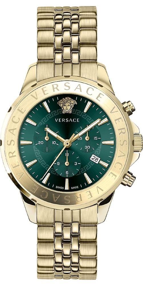Versace Vev600619 Chrono Signature Men's Watch Gold 44 Mm