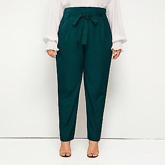 Plus solid wide band belted pants