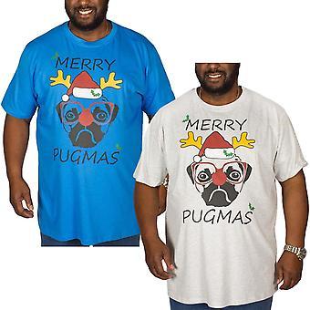 Duke D555 Mens Big King Size Christmas Xmas Novelty Pug Crew Neck T Shirt Top