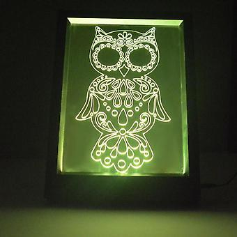 Decorative Owl Colour Changing RC LED Mirror Light Frame
