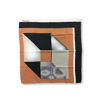 Jacob Cohen Pocket Square in black/brown/silver abstract shape design