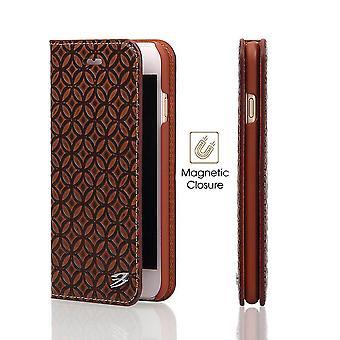 Für iPhone 8 PLUS, 7 PLUS Brieftasche Fall, FS Kupfer Münze Lederbezug, braun