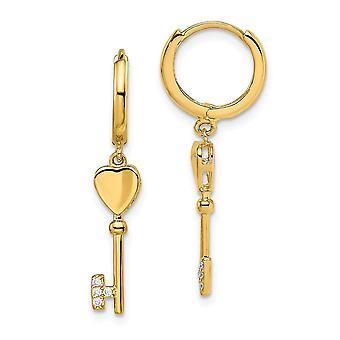 14k Madi K CZ Cubic Zirconia Simulerad Diamant med nyckeldgla gångjärn Hoop Örhängen smycken gåvor för kvinnor