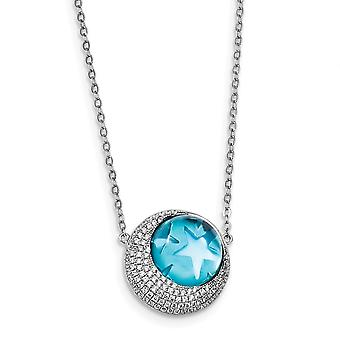 925 Sterling Silber Rhodium Platte blaues Glas und CZ Kubische Zirkonia simuliert Diamant himmlischen Mond Sterne 2 Zoll Ext Hals