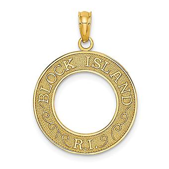 14k Gold Block Island Ri Round Frame (vide) Charm Jewelry Gifts for Women - 1.3 Grammes