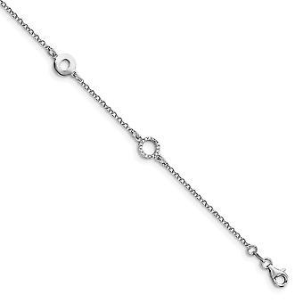 7.75mm 925 Sterling hopea kiillotettu CZ Cubic Zirkonia simuloitu timantti 1inch Ext. Nilkkakoru 9 tuuman koruja lahjat
