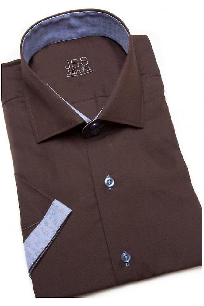 JSS Plain Brown Slim Fit Shirt With Blue Aztec Trim