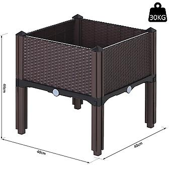 Outsunny Rattan-Effect Raised Flower Planter Bed w/ Self Water Disc 4 Legs Grow Box Flowers Herbs Vegetables Outdoor Garden Square Brown