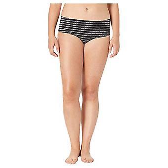 DKNY Women's Litewear Cut Anywhere Hipster Panty, Stripe Logo Print, 2X