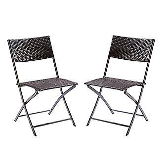 Bistro Folding Garden Home Dining Chair Seat - Indoor / Outdoor Furniture (x2)