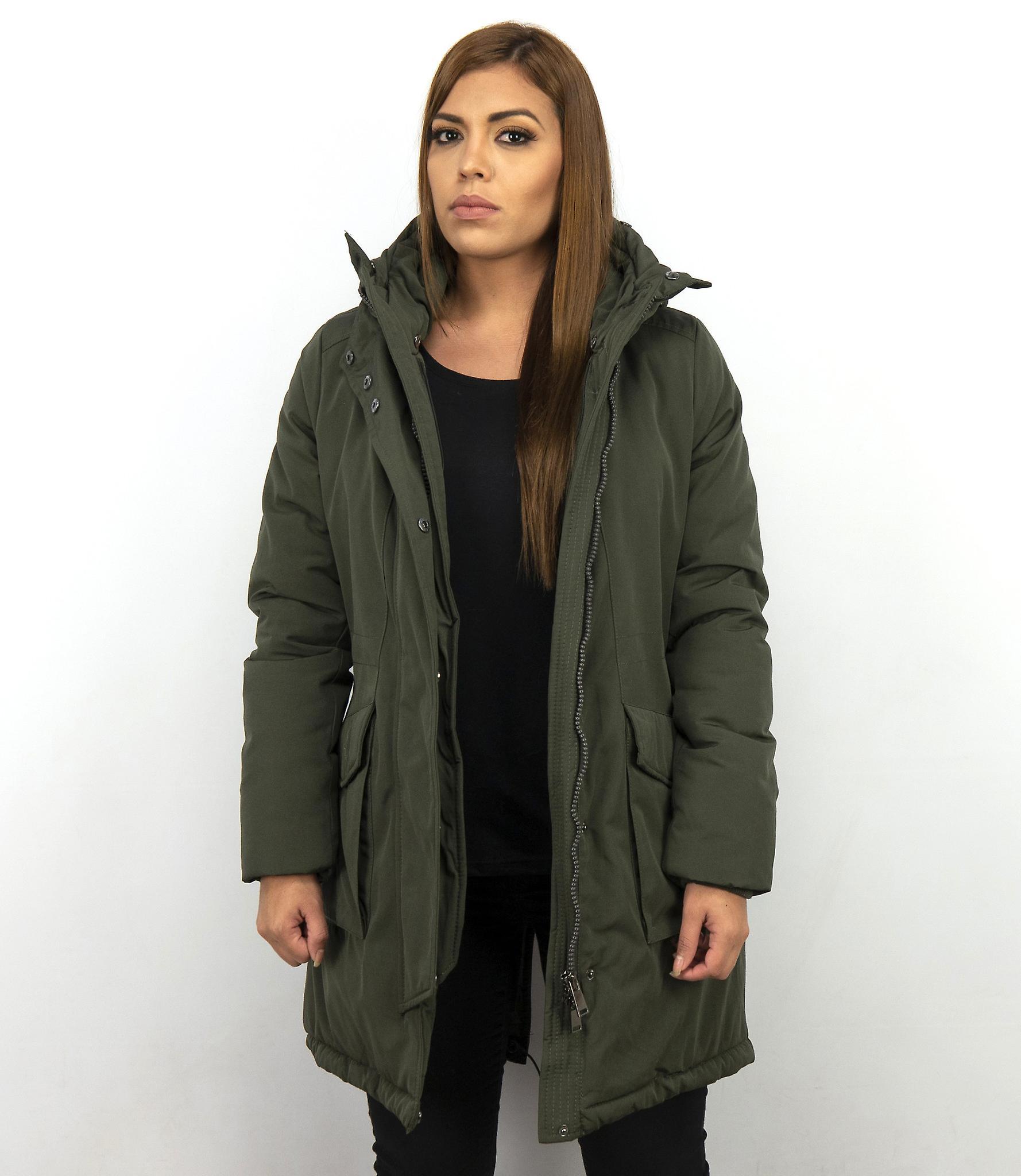 Lang parka jakke damer med pels krage grønn