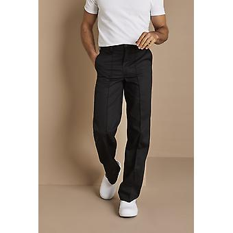 SIMON JERSEY Men's Flat Front Trousers, Black