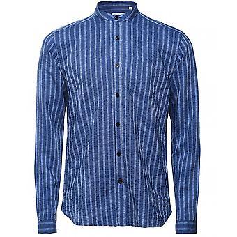 Oliver Spencer Cotton Linen Striped Grandad Shirt
