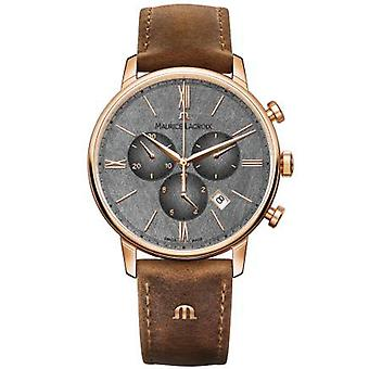 Maurice LaCroix Eliros Quartz Grey Dial Brown Leather Strap Watch EL1098-PVP01-210-1