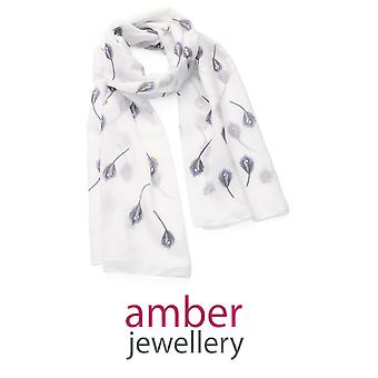 Amber Jewellery White Feather Motif Scarf (SC33052)