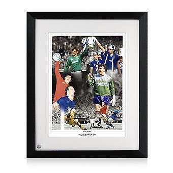 Neville Southall Undertecknat Everton Foto Inramade