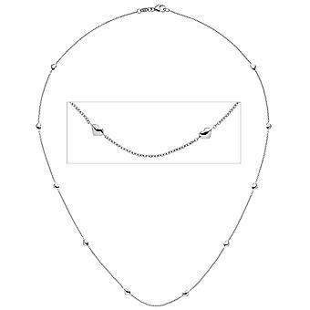 Damen Collier Halskette Herz Herzen 585 Gold Weißgold 45 cm Kette Weißgoldkette