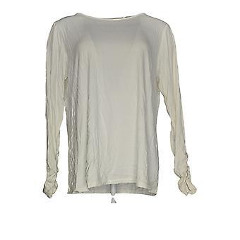 Dennis Basso Women'top ruched sleeve w/ Microchain Trim Ivory A345017