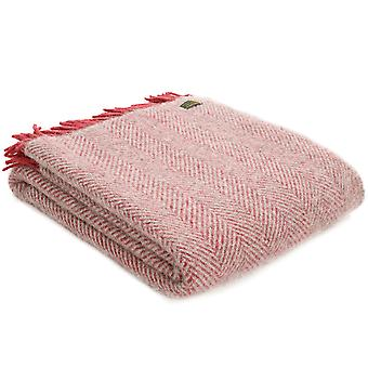 Tweedmill Pure New Wool Herringbone Silver Grey & Watermelon Throw