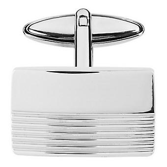 Orton West Half Striped Rectangle Cufflinks - Silver
