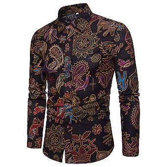 Allthemen Men's Long Sleeve Shirt Cotton Linen Floral Printed Shirt