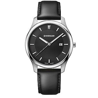 Wenger City Classic Black Dial Black Leather Strap Men's Watch 01.1441.101 RRP £89