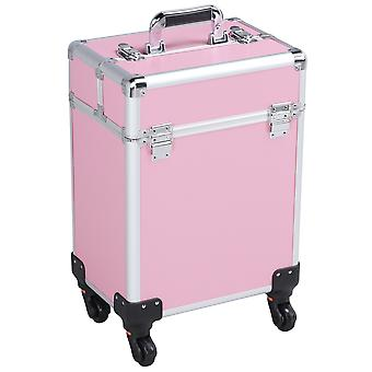 Rolling Makeup Trolley Cosmetic Case Train Case Beauty Box Vanity Case Storage Hairdressing Organiser for Salon, Beauty