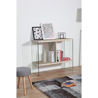 Libra 2 Wood Color console, Transparent in MDF, Glass 100x39.5x85 cm