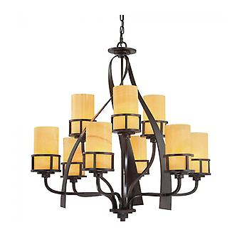 Kyle Hanglamp Light, Wrought Iron en Onyx, 9 Bollen