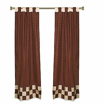 2 Eclectic Brown Indian Sari Curtains Tab Top Curtain drapes