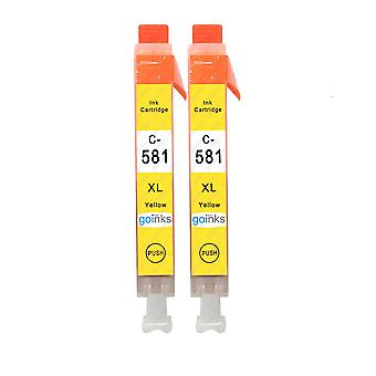 2 Yellow Ink Cartridges to replace Canon CLI-581Y Compatible/non-OEM from Go Inks
