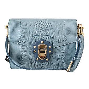 Blue leather lucia shoulder messenger hand bbag purse