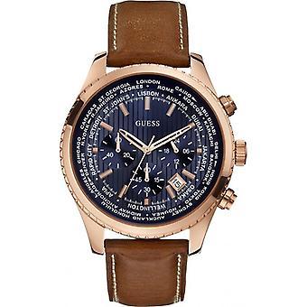 כנראה W0500G1 בראון עור קוורץ אופנה גברים ' s שעון