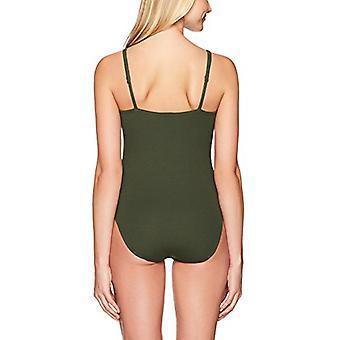 Merk - Mae Women's Ribbed Crisscross Bodysuit, Dark Olive, X-Large