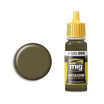 Ammo by Mig Acrylic Paint - A.MIG-0005 RAL 7008 Graugrun (17ml)