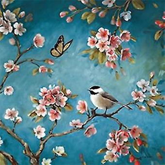 Pflaume Blüte Birdie Muster voller Stickerei Diy Kreuzstich gedruckt auf Canva