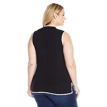 Jones New York Women's Plus Size Slvless Turtle Nk Tuniek W/Contrast Trim, Bla...