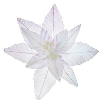 27cm Iridescent White Clip-On Poinsettia Christmas Decoration
