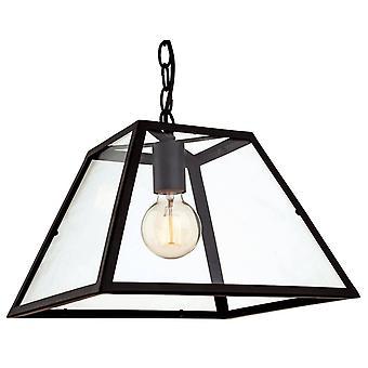 1 Pendentif plafond léger noir, verre transparent, E27