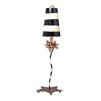 1 Lampa stołowa Złoty Liść z czarnym, Paski Taupe, E27