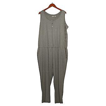 LOGO by Lori Goldstein Plus Jumpsuit Micro Stripe Henley Dtl Brown A301302