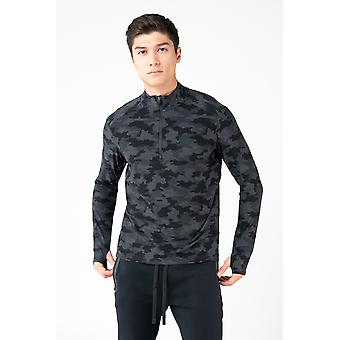 Men's Long Sleeve Breathable Soft Moss Jersey Top with Quarter Zipper
