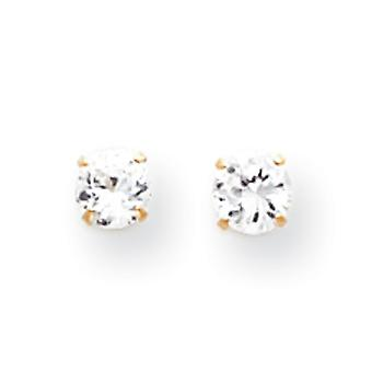 14k Yellow Gold Polished Prong set 4mm CZ Cubic Zirconia Simulated Diamond Post Earrings Measures 4x4mm Jewelry Gifts fo