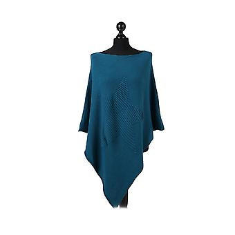 Orla Knitted Star Poncho | Teal | One Size