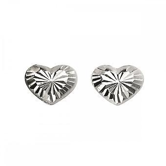 Anfänge Sterling Silber A987 Diamant geschnitten Herz Ohrstecker